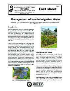 Management of Iron in Irrigation Water