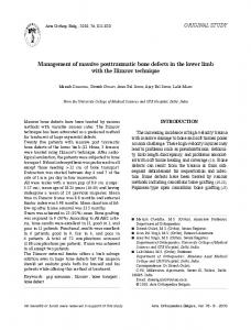 Management of massive posttraumatic bone defects in the lower limb ...