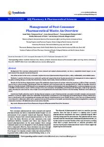 Management of Post-Consumer Pharmaceutical Waste: An Overview