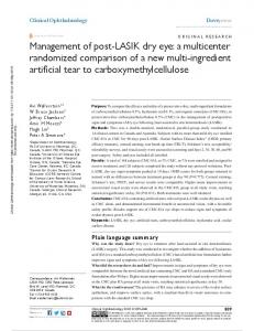 Management of post-lasiK dry eye: a multicenter