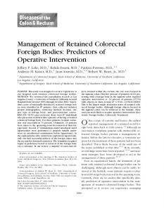 Management of Retained Colorectal Foreign Bodies ... - Springer Link
