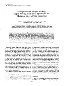 Management of Simple Snoring, Upper Airway Resistance Syndrome ...