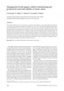 Management of soil organic carbon in maintaining soil productivity ...