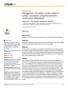 Management of sudden cardiac death in cardiac sarcoidosis ... - PLOS