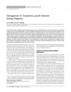 Management of Toxoplasma gondii Infection ... - Semantic Scholar