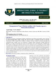 Management of Type-2 Diabetes mellitus with Chanaka yoga - IJPAR