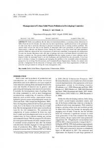 Management of Urban Solid Waste Pollution in Developing Countries