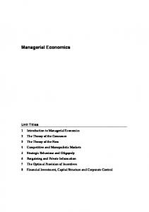 Managerial Economics - Centre for Financial & Management Studies