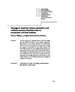 Managers' business school education and military ... - Semantic Scholar