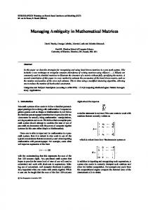 Managing Ambiguity in Mathematical Matrices - Cheriton School of