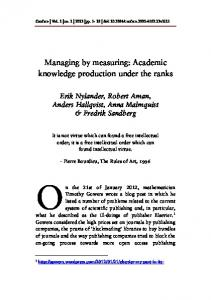 Managing by measuring: Academic knowledge production ... - DiVA