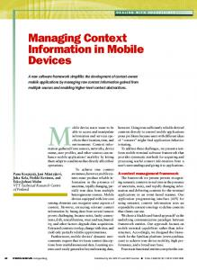 Managing context information in mobile devices - Pervasive ...