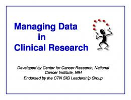 Managing Data in Clinical Research - Clinical Trial Nurses