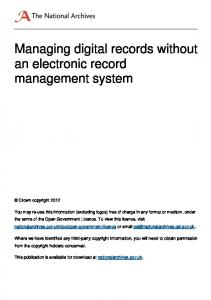 Managing digital records without an electronic records management ...