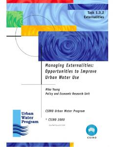 Managing Externalities:Opportunities to improve urban water use