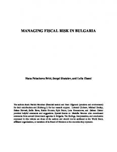 managing fiscal risk in bulgaria - SSRN papers