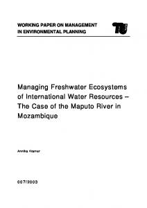 Managing Freshwater Ecosystems of International Water Resources ...
