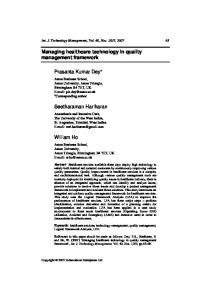 Managing healthcare technology in quality ... - Semantic Scholar