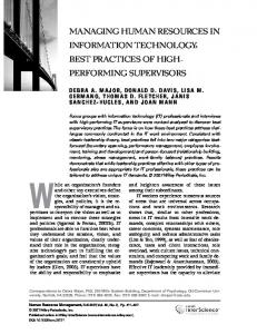 Managing human resources in information technology: Best practices ...