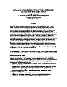 managing information privacy and information access in ... - CiteSeerX