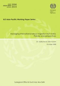 Managing international labour migration from India - ILO