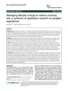Managing lifestyle change to reduce coronary risk: a synthesis of ...