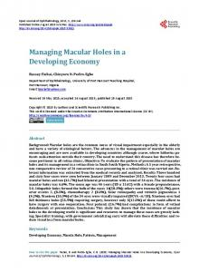 Managing Macular Holes in a Developing Economy - Scientific ...