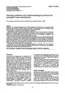 Managing problems with tracheoesophageal ...