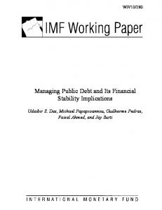 Managing Public Debt and Its Financial Stability Implications - IMF