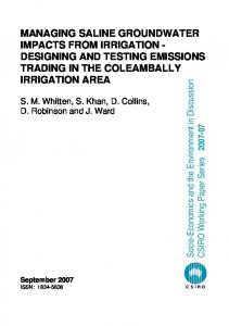 managing saline groundwater impacts from irrigation ... - Core