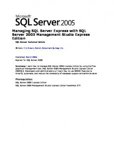 Managing SQL Server Express with SQL Server 2005 Management ...