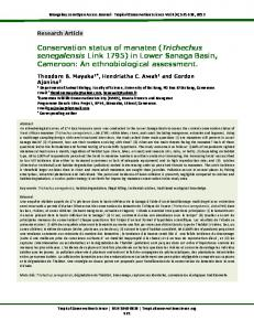 Manatee conservation in Cameroon's Littoral - Tropical Conservation ...