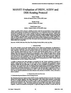 MANET-Evaluation of DSDV, AODV and DSR Routing Protocol - ijiet
