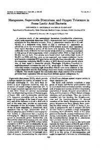 Manganese, Superoxide Dismutase, and Oxygen Tolerance in