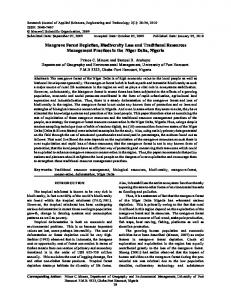 Mangrove Forest Depletion, Biodiversity Loss and Traditional ...
