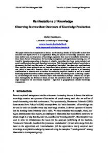 Manifestations of Knowledge - TU Chemnitz