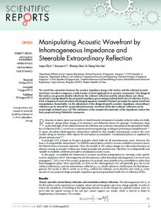 Manipulating Acoustic Wavefront by Inhomogeneous ... - BioMedSearch