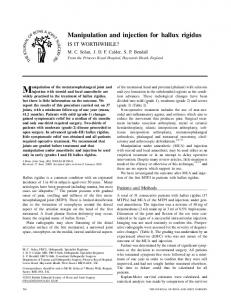 Manipulation and injection for hallux rigidus
