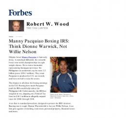 Manny Pacquiao Boxing IRS: Think Dionne Warwick ... - Wood LLP