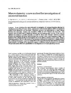 Manovolumetry: a new method for investigation of