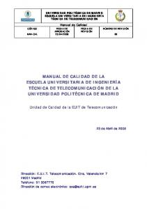 MANUAL DE CALIDAD DE LA ESCUELA UNIVERSITARIA DE ...