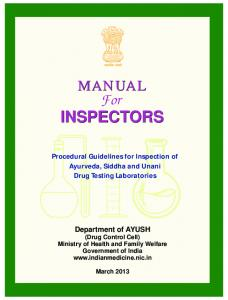Manual For Inspector - Ministry of AYUSH