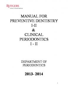 manual for preventive dentistry i-ii & clinical periodontics i