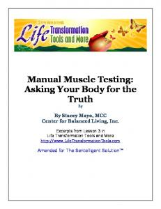 Manual Muscle Testing - Center for Balanced Living