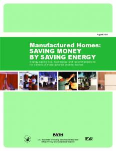 Manufactured Homes: Saving Money By Saving Energy