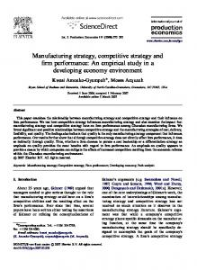 Manufacturing strategy, competitive strategy and firm performance: An ...