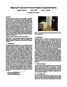 Mapping 2D input to 3D Immersive Spatial Augmented Reality