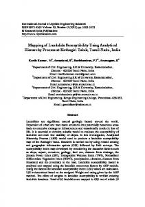 Mapping of Landslide Susceptibility Using Analytical ...