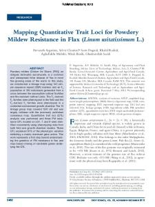 Mapping Quantitative Trait Loci for Powdery Mildew Resistance in Flax