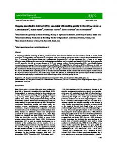 Mapping quantitative trait loci (QTL) associated with cooking quality in ...